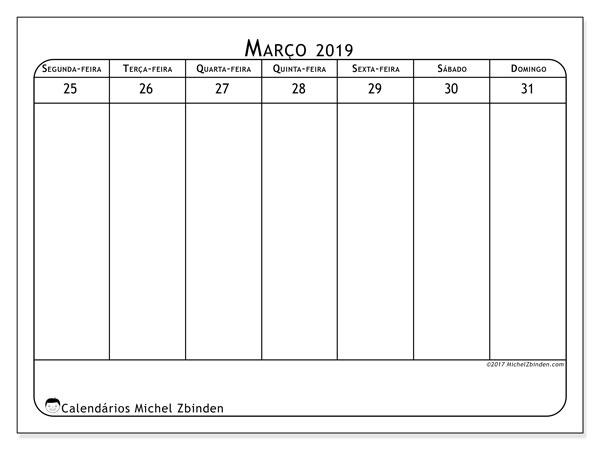 Calendário março 2019, 43-5SD. Calendário para a semana para imprimir livre.