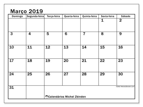 Calendário  março de 2019, 50DS