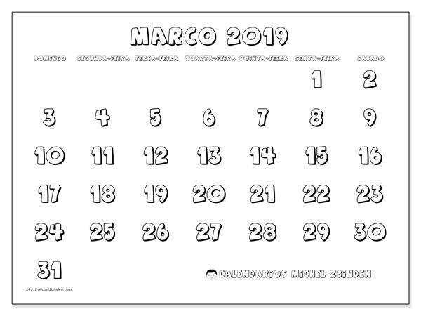 Calendário  março de 2019, 56DS