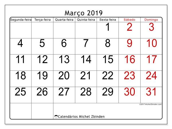 Calendário  março de 2019, 62DS