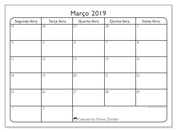 Calendário  março de 2019, 74SS