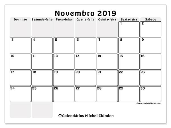 Calendário novembro 2019, 44DS. Calendário para imprimir gratuitamente.