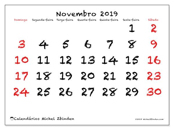 Calendário novembro 2019, 46DS. Calendário para o mês para imprimir livre.