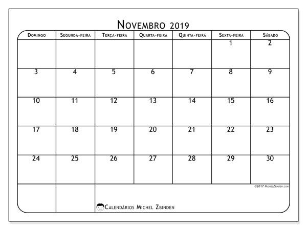 Calendário novembro 2019, 51DS. Calendário gratuito para imprimir.