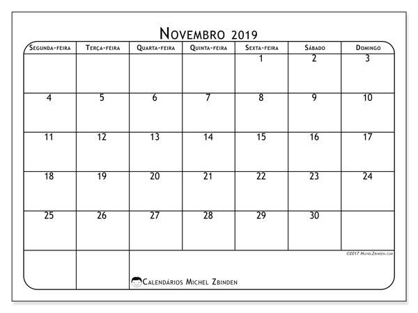 Calendário novembro 2019, 51SD. Calendário para imprimir gratuitamente.