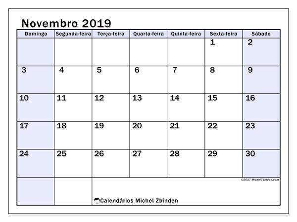 Calendário novembro 2019, 57DS. Calendário para o mês para imprimir livre.