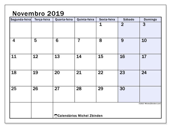 Calendário novembro 2019, 57SD. Agenda para imprimir livre.