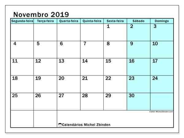 Calendário novembro 2019, 59SD. Calendário para imprimir livre.