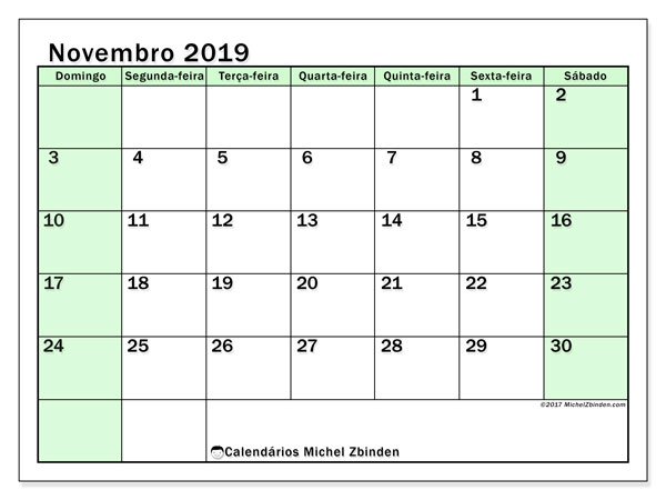 Calendário novembro 2019, 60DS. Calendário para imprimir livre.
