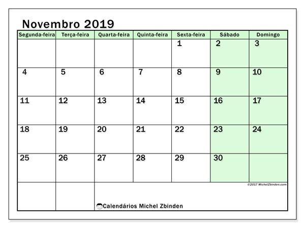 Calendário novembro 2019, 60SD. Calendário gratuito para imprimir.