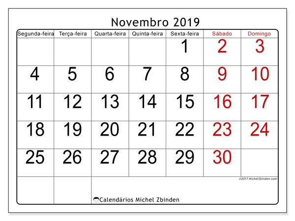 Calendário novembro 2019, 62SD. Calendário mensal para imprimir gratuitamente.