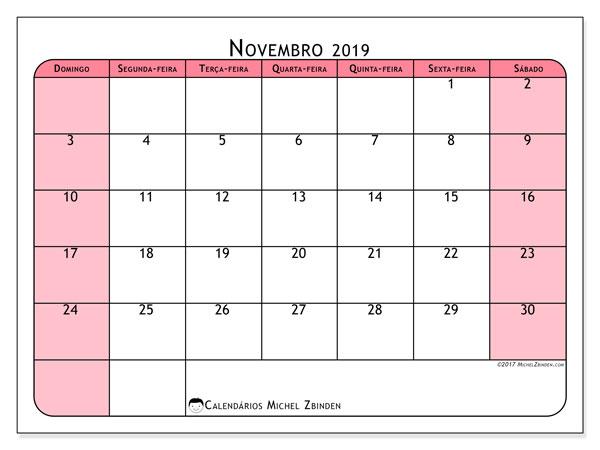 Calendário novembro 2019, 64DS. Agenda para imprimir livre.