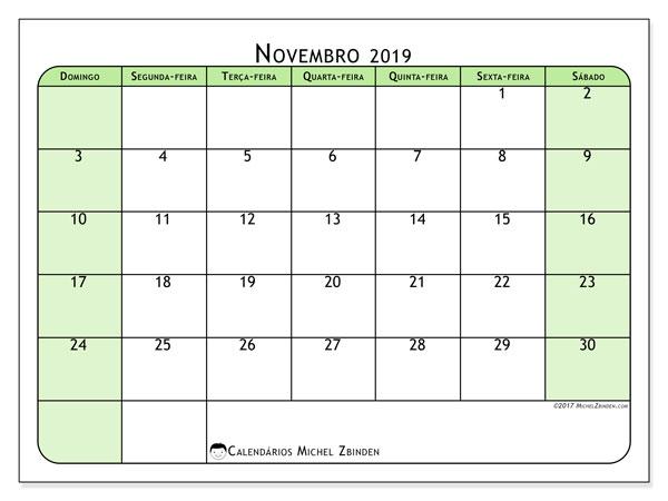 Calendário novembro 2019, 65DS. Calendário para imprimir livre.