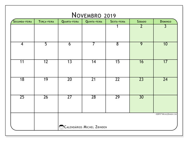 Calendário novembro 2019, 65SD. Calendário para imprimir livre.