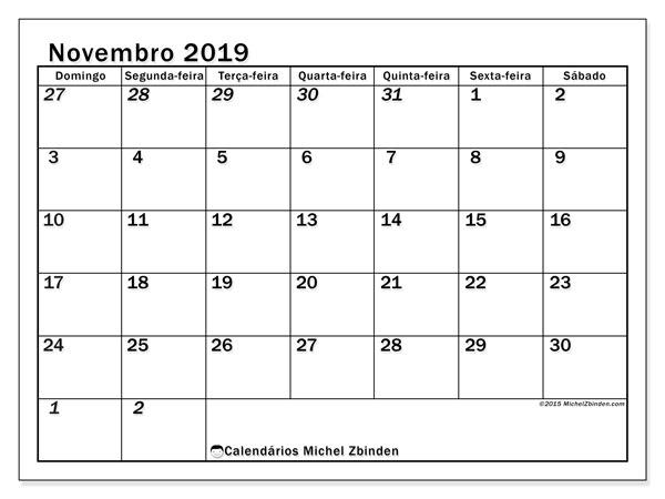 Calendário novembro 2019, 66DS. Calendário para o mês para imprimir livre.
