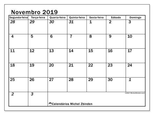 Calendário novembro 2019, 66SD. Calendário para imprimir gratuitamente.