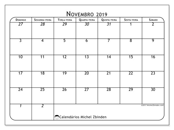 Calendário novembro 2019, 67DS. Calendário mensal para imprimir gratuitamente.