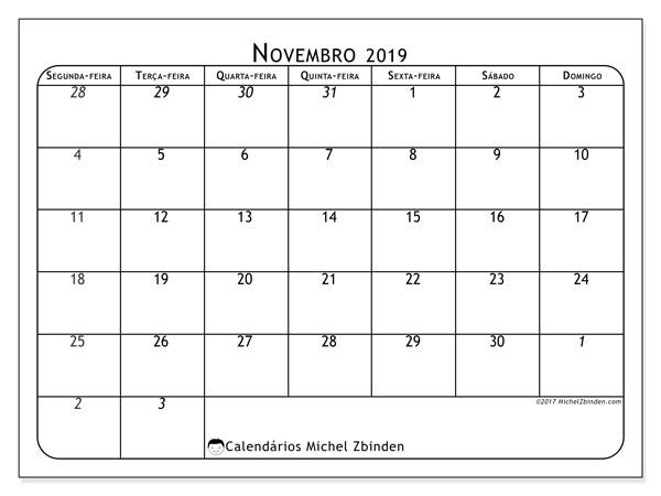 Calendário novembro 2019, 67SD. Horário para imprimir livre.
