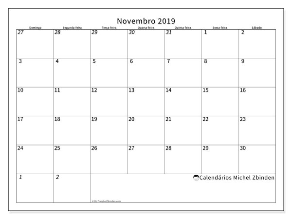 Calendário novembro 2019, 70DS. Calendário para imprimir livre.