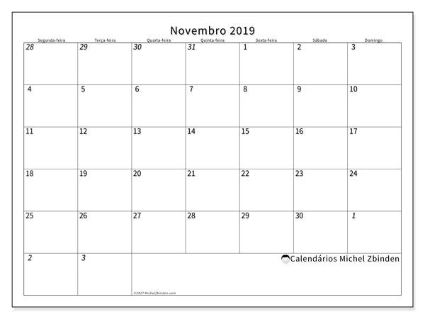 Calendário novembro 2019, 70SD. Agenda para imprimir livre.