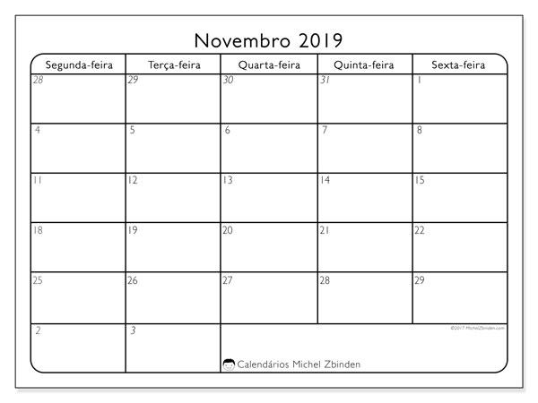 Calendário novembro 2019, 74SD. Calendário para o mês para imprimir livre.