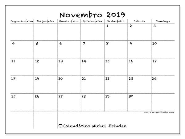 Calendário novembro 2019, 77SD. Horário para imprimir livre.