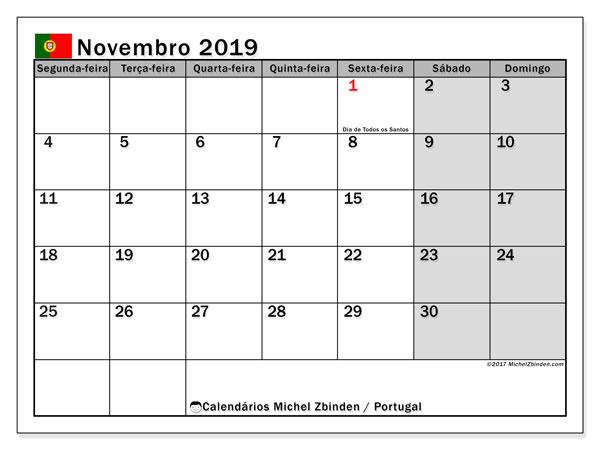 Calendário em novembro  de 2019, com feriados públicos em Portugal. Horário para imprimir livre.
