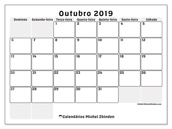 Calendário outubro 2019, 44DS. Agenda para imprimir livre.