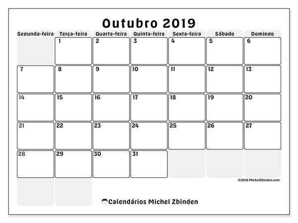 Calendário outubro 2019, 44SD. Horário para imprimir livre.