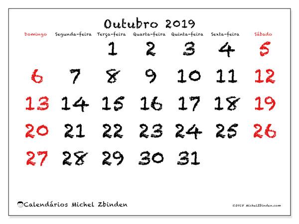 Calendário outubro 2019, 46DS. Calendário mensal para imprimir gratuitamente.