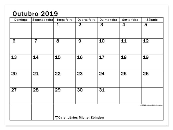 Calendário outubro 2019, 50DS. Horário para imprimir livre.