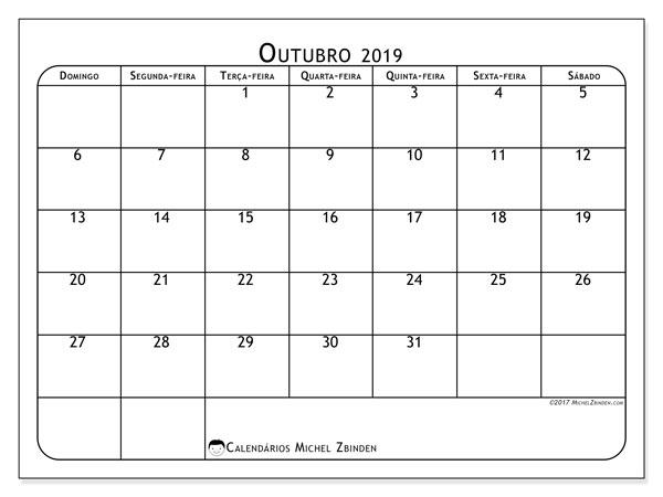 Calendário outubro 2019, 51DS. Calendário para o mês para imprimir livre.