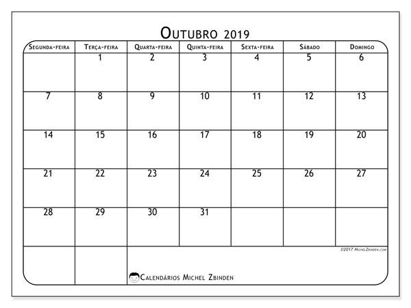Calendário outubro 2019, 51SD. Horário para imprimir livre.