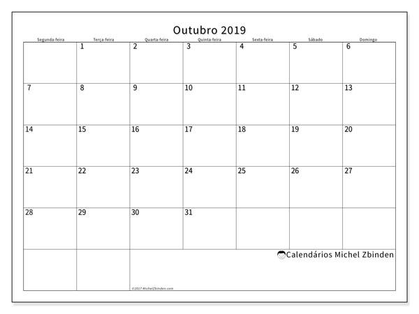 Calendário outubro 2019, 53SD. Agenda para imprimir livre.