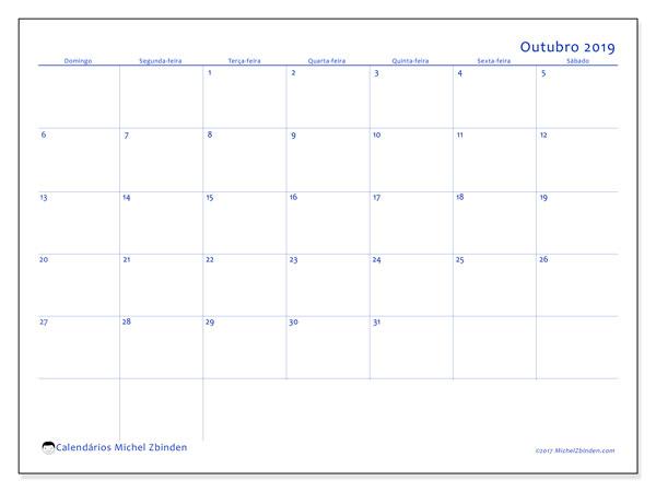 Calendário outubro 2019, 55DS. Calendário mensal para imprimir gratuitamente.