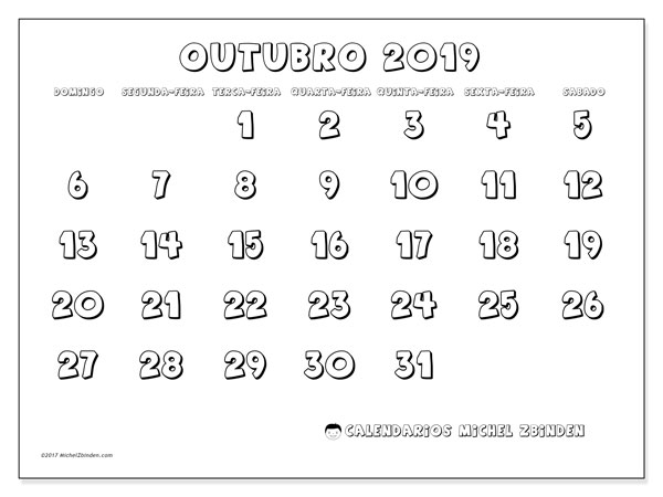 Calendário outubro 2019, 56DS. Horário para imprimir livre.
