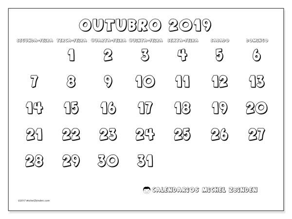 Calendário outubro 2019, 56SD. Calendário para imprimir gratuitamente.