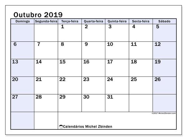 Calendário outubro 2019, 57DS. Horário para imprimir livre.
