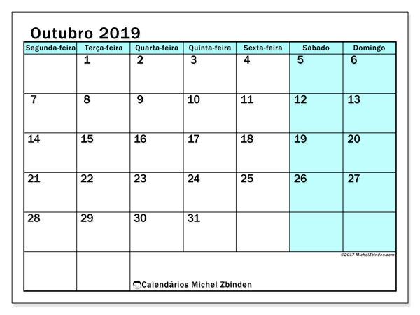 Calendário outubro 2019, 59SD. Agenda para imprimir livre.