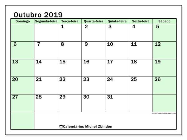 Calendário outubro 2019, 60DS. Calendário mensal para imprimir gratuitamente.