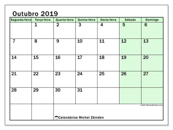 Calendário outubro 2019, 60SD. Calendário mensal para imprimir gratuitamente.