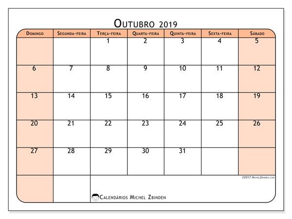 Calendário outubro 2019, 61DS. Calendário para imprimir gratuitamente.