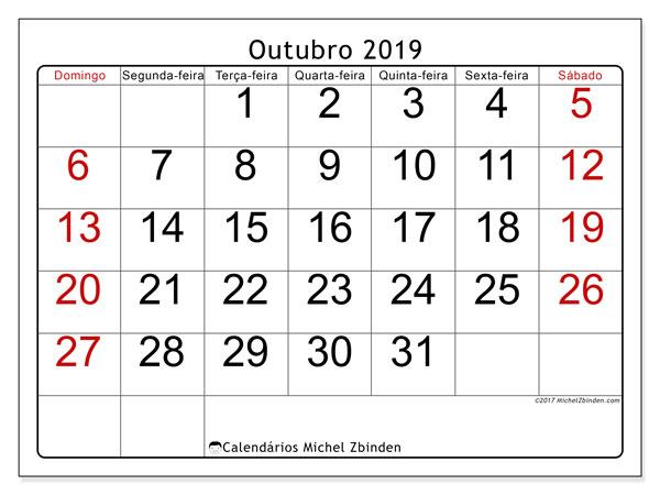 Calendário outubro 2019, 62DS. Calendário gratuito para imprimir.