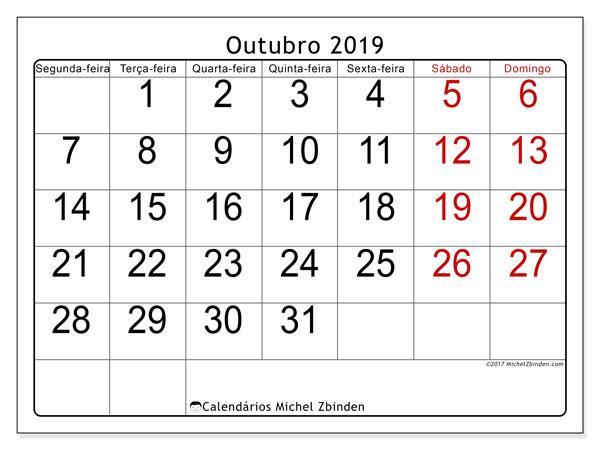 Calendário outubro 2019, 62SD. Calendário para o mês para imprimir livre.