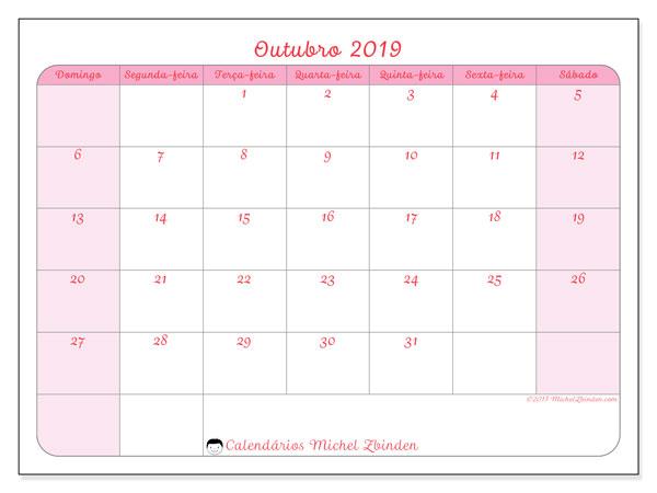 Calendário outubro 2019, 63DS. Calendário para imprimir livre.