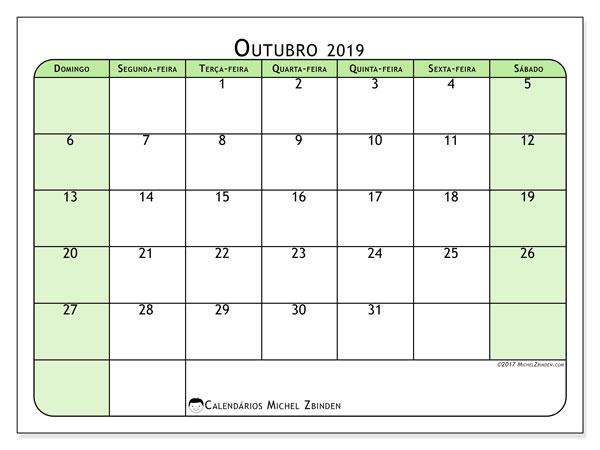 Calendário outubro 2019, 65DS. Calendário para imprimir gratuitamente.