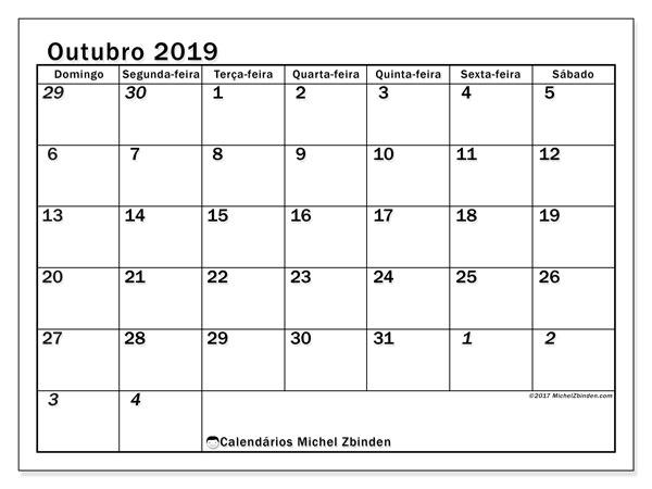 Calendário outubro 2019, 66DS. Calendário mensal para imprimir gratuitamente.