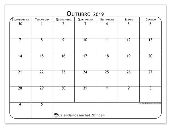 Calendário outubro 2019, 67SD. Agenda para imprimir livre.
