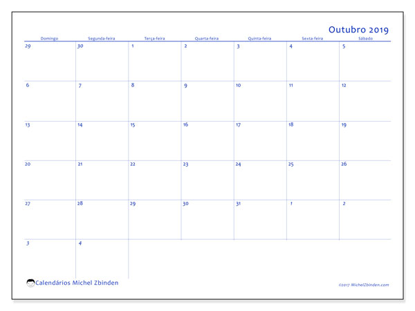 Calendário outubro 2019, 73DS. Calendário mensal para imprimir gratuitamente.