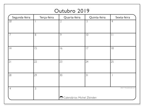 Calendário outubro 2019, 74SD. Calendário mensal para imprimir gratuitamente.